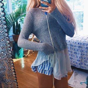 Bar lll Preppy Peplum Speckled Knit Sweater Top 🌿